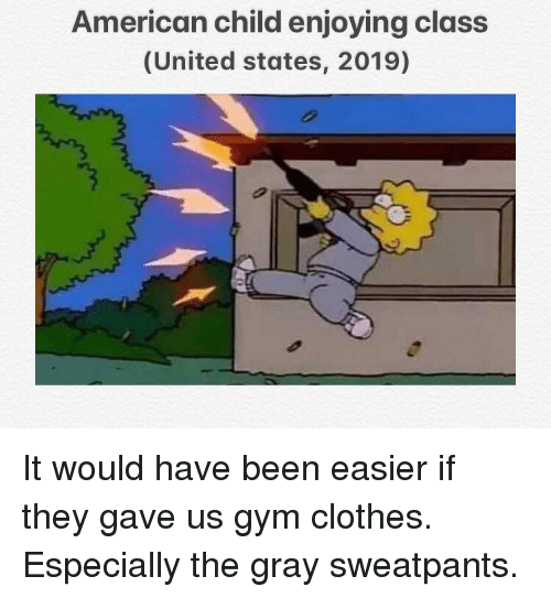 Clothes, Gym, and American: American child enjoying class  (United states, 2019)