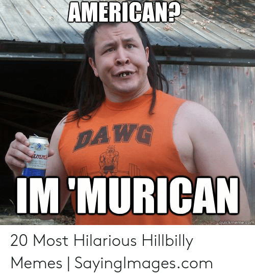 Memes, American, and Hilarious: AMERICAN?  DAWG  IM 'MURICAN  quickmeme.com 20 Most Hilarious Hillbilly Memes | SayingImages.com