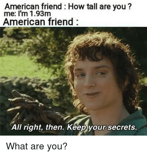 how tall are you: American friend How tall are you?  me: I'm 1.93m  American friend  All right, then. Keep your secrets What are you?