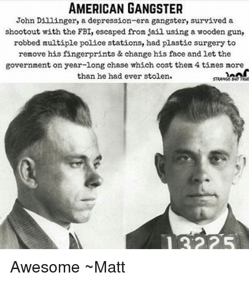 Fbi, Jail, and Memes: AMERICAN GANGSTER  John Dillinger, a depression-era gangster, survived a  shootout with the FBI, escaped from jail using a wooden gun,  robbed multiple police stations, had plastic surgery to  remove his fingerprints & change his face and let the  government on year-long chase which cost them 4 times more  than he had ever stolen.  STRANGE Bu7TRuf Awesome ~Matt