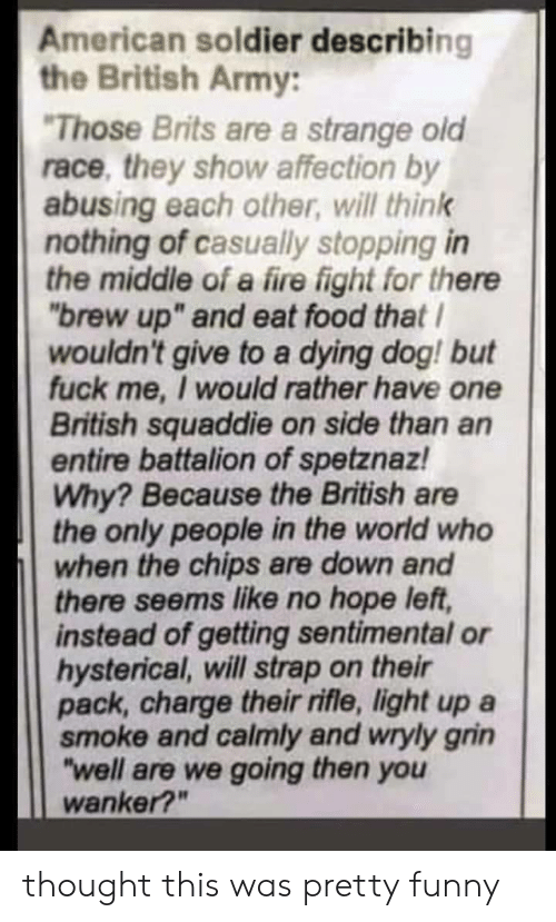 """hysterical: American soldier describing  the British Army:  Those Brits are a strange old  race, they show affection by  abusing each other, will think  nothing of casually stopping in  the middle of a fire fight for thene  """"brew up"""" and eat food that  wouldn't give to a dying dog! but  fuck me, I would rather have one  British squaddie on side than an  entire battalion of spetznaz!  Why? Because the British are  the only people in the world who  when the chips are down and  there seems like no hope left,  instead of getting sentimental or  hysterical, will strap on their  pack, charge their rifle, light up a  smoke and calmly and wryly grin  """"well are we going then you  wanker?"""" thought this was pretty funny"""