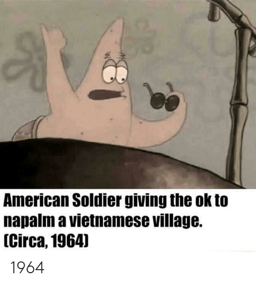 napalm: American Soldier giving the ok to  napalm a vietnamese village.  [Circa,1964] 1964
