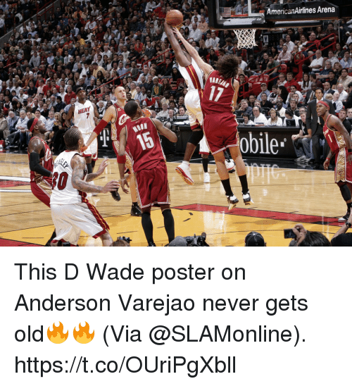 d wade: AmericanAirlines Arena  17  MOON  obile This D Wade poster on Anderson Varejao never gets old🔥🔥  (Via @SLAMonline).  https://t.co/OUriPgXbll