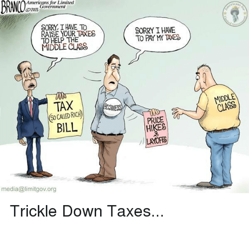 Sorry, Taxes, and American: Americans for Limited  Government  CO2015  SORRY THAE To  RAISE YOUR TAXES  TO HELP THE  MIDDLE CLASS  TAX  BILL  media a limitgov.org  SORRY IHAE  TO PAY MY TAXES  PRICE  HIKES  LAYOFFS  MIDDLE  CLASS Trickle Down Taxes...