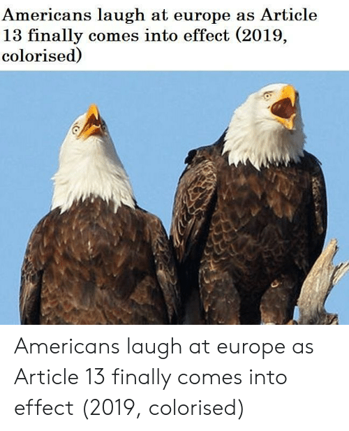 Colorised: Americans laugh at europe as Article  13 finally comes into effect (2019,  colorised) Americans laugh at europe as Article 13 finally comes into effect (2019, colorised)