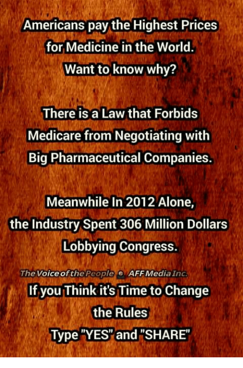 "Being Alone, Memes, and The Voice: Americans pay the Highest Prices  for Medicine in the World.  Want to know why?  There is a Law that Forbids  Medicare from Negotiating with  Big Pharmaceutical Companies.  Meanwhile In 2012 Alone,  the Industry Spent 306 Million Dollars  Lobbying Congress.  The Voice ofthe People  AFF Media Ind  If you Think it's Time to Change  the Rules  Type YES"" and ""SHARE"