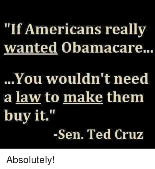 Memes, Ted, and Ted Cruz: Americans really  wanted Obamacare...  You wouldn't need  a law to make them  buy it.  Sen. Ted Cruz Absolutely!