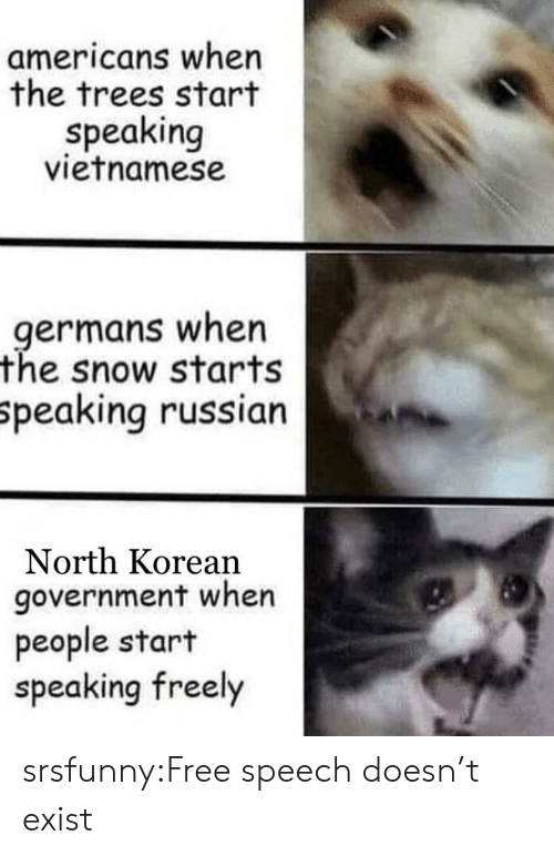 Vietnamese: americans when  the trees start  speaking  vietnamese  .germans when  the snow starts  Speaking russian  North Korean  government when  people start  speaking freely srsfunny:Free speech doesn't exist
