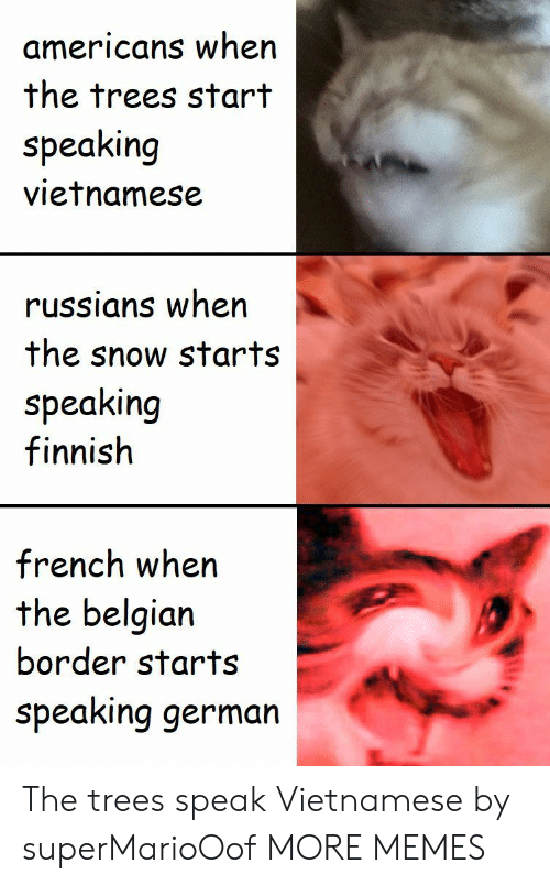 russians: americans when  the trees start  speaking  vietnamese  russians when  the snow starts  speaking  finnish  french when  the belgian  border starts  speaking germarn The trees speak Vietnamese by superMarioOof MORE MEMES