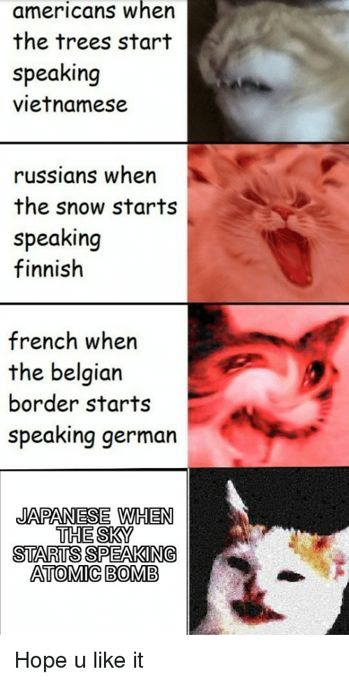 russians: americans when  the trees start  speaking  vietnamese  russians wher  the snow starts  speaking  finnish  french when  the belgian  border starts  speaking german  JAPANESE WHEN  THE SKY  STARTS SPEAKING  ATOMIC BOMB Hope u like it