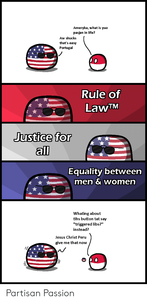 """Tihs: Ameryka, what is yuo  pasjan in life?  Aw shucks  that's easy  Portugal  Rule of  LawTM  Justice  for  all  Equality between  men & women  Whating about  tihs button tat say  """"triggered libs?""""  instead?  Jesus Christ Peru  give me that now Partisan Passion"""