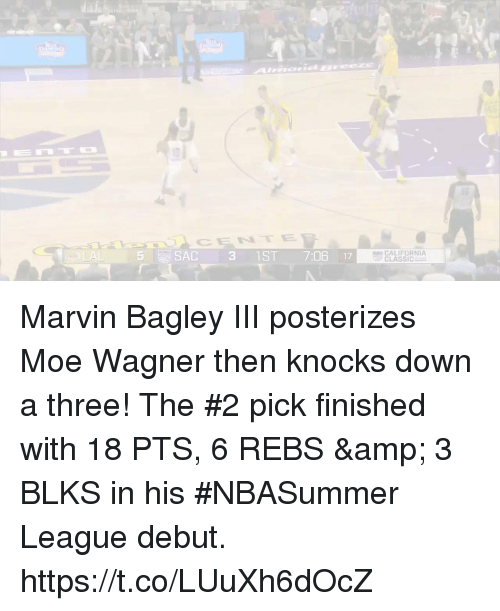 wagner: Amid E  CENTE  5  SAC 31ST 7:06 17  CALIFORNIA  CLASSIC Marvin Bagley III posterizes Moe Wagner then knocks down a three!   The #2 pick finished with 18 PTS, 6 REBS & 3 BLKS in his #NBASummer League debut.    https://t.co/LUuXh6dOcZ