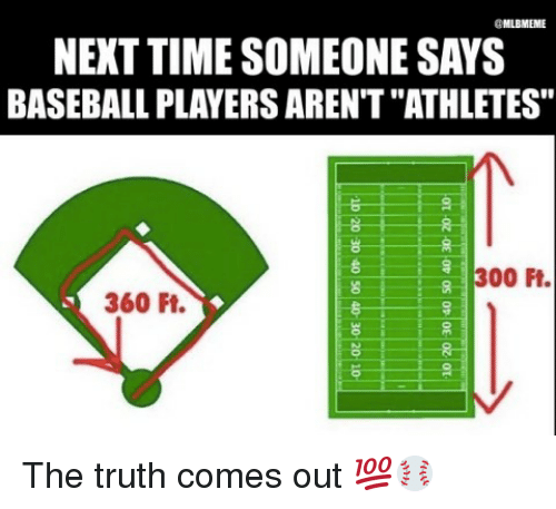 """Baseball, Mlb, and 300: aMLBMEME  NEXT TIME SOMEONE SAYS  BASEBALL PLAYERSARENT""""ATHLETES""""  300 Ft.  360 Ft. The truth comes out 💯⚾️"""