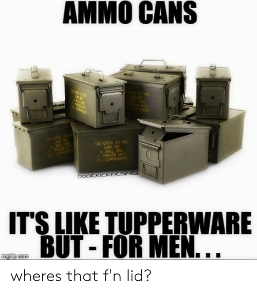 Tupperware: AMMO CANS  00 CRTG 50 CA  4B31  RACER  IC-1263581  IT'S LIKE TUPPERWARE  BUT - FOR MEN wheres that f'n lid?