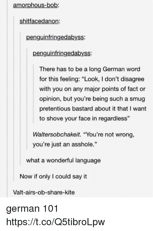 "Pretentious, Say It, and Word: amorphous-bob:  shitfacedanon  penguinfringedabyss:  penguinfringedabyss:  There has to be a long German word  for this feeling: ""Look, I don't disagree  with you on any major points of fact or  opinion, but you're being such a smug  pretentious bastard about it that I want  to shove your face in regardless  93  Waltersobchakeit. ""You're not wrong,  you're just an asshole.""  what a wonderful language  Now if only I could say it  Valt-airs-ob-share-kite german 101 https://t.co/Q5tibroLpw"
