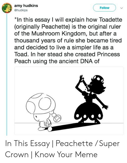 "Super Crown: amy hudkins  @hudkips  Follow  ""In this essay I will explain how Toadette  (originally Peachette) is the original ruler  of the Mushroom Kingdom, but after a  thousand years of rule she became tired  and decided to live a simpler life as a  Toad. In her stead she created Princess  Peach using the ancient DNA of In This Essay 