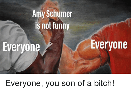 Amy Schumer: Amy Schumer  is not funny  Everyone  Everyone Everyone, you son of a bitch!