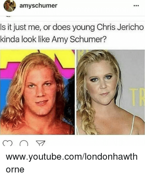 Amy Schumer, Memes, and youtube.com: amy schumer  s it just me, or does young Chris Jericho  kinda look like Amy Schumer? www.youtube.com/londonhawthorne
