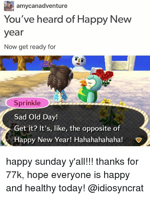 Memes, New Year's, and Happy: amycanadventure  You've heard of Happy New  year  Now get ready for  Sprinkle  Sad Old Day!  Get it? It's, like, the opposite o  Happy New Year! Hahahahahaha!  NV happy sunday y'all!!! thanks for 77k, hope everyone is happy and healthy today! @idiosyncrat