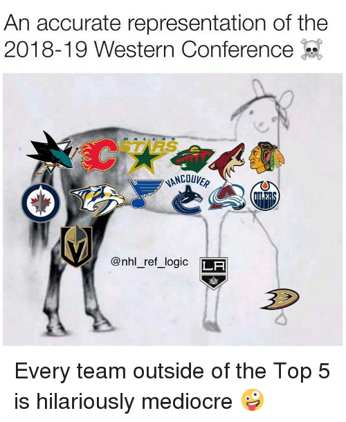 National Hockey League (NHL): An accurate representation of the  2018-19 Western Conference-  STARS  @nhl_ref_logic LF Every team outside of the Top 5 is hilariously mediocre 🤪