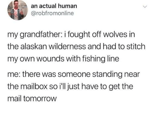 Wilderness: an actual human  @robfromonline  my grandfather: i fought off wolves in  the alaskan wilderness and had to stitch  my own wounds with fishing line  me: there was someone standing near  the mailbox so i'll just have to get the  mail tomorrow