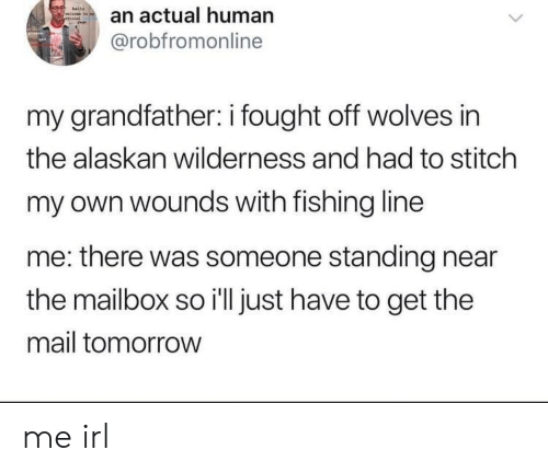 Wilderness: an actual human  @robfromonline  my grandfather: i fought off wolves in  the alaskan wilderness and had to stitch  my own wounds with fishing line  me: there was someone standing near  the mailbox so i'll just have to get the  mail tomorrow me irl