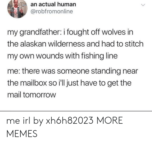 Wilderness: an actual human  @robfromonline  my grandfather: i fought off wolves in  the alaskan wilderness and had to stitch  my own wounds with fishing line  me: there was someone standing near  the mailbox so i'll just have to get the  mail tomorrow me irl by xh6h82023 MORE MEMES