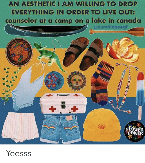 Counselor: AN AESTHETIC I AM WILLING TO DROP  EVERYTHING IN ORDER TO LIVE OUT  counselor at a camp on a lake in canada  @bumblebeegf  SUPE  POWE Yeesss