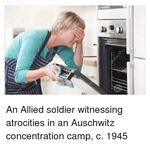 concentration camp: An Allied soldier witnessing atrocities in an Auschwitz concentration camp, c. 1945