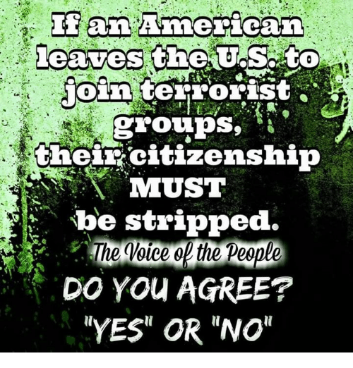 "memes: an American  leaves the US. to  join  terrorist  groups,  their citizenship  MMUST  be stripped  The Voice the People  DO YOU AGREE?  NYES"" OR ""NO"""