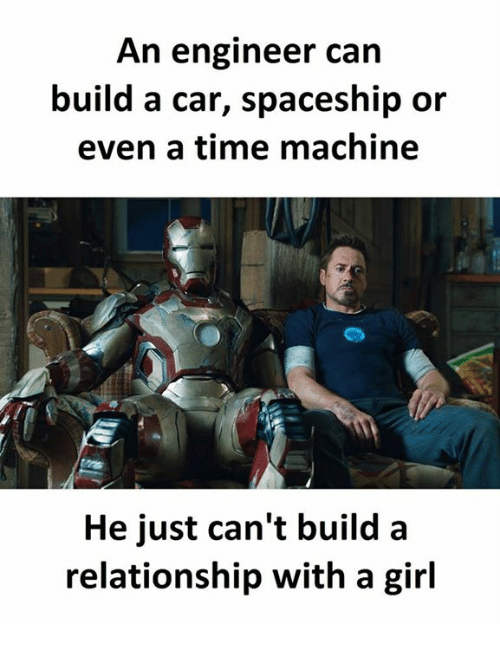 Girl, Time, and Car: An engineer can  build a car, spaceship or  even a time machine  He just can't builda  relationship with a girl