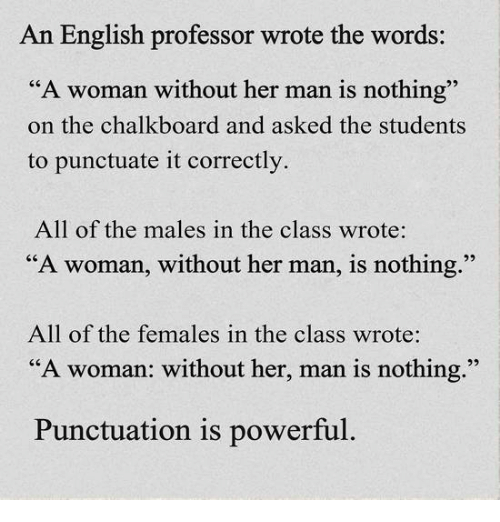 "memes: An English professor wrote the words:  ""A woman without her man is nothing""  on the chalkboard and asked the students  to punctuate it correctly.  All of the males in the  class wrote:  ""A woman, without her man, is nothing.""  All of the females in the class wrote:  ""A woman: without her, man is nothing.""  Punctuation is powerful."