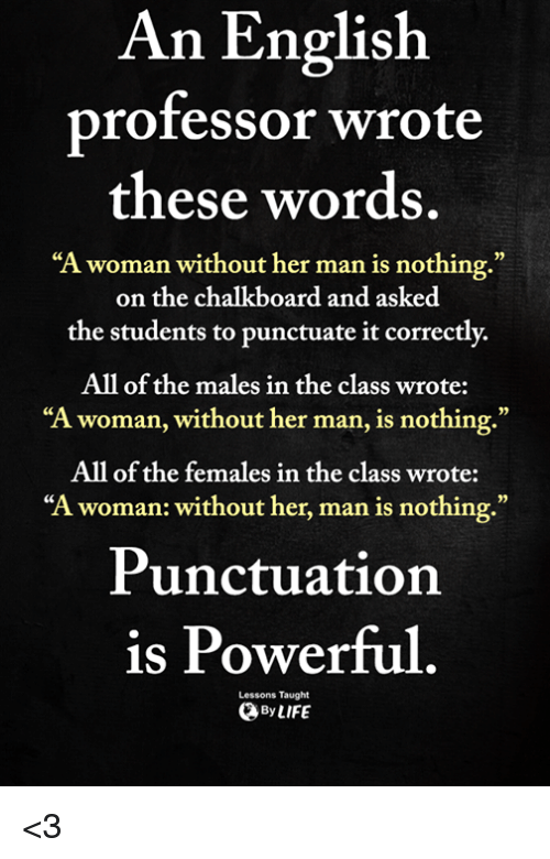 """Memes, English, and Powerful: An English  professor wrote  these words  """"A woman without her man is nothing.""""  on the chalkboard and asked  the students to punctuate it correctly.  All of the males in the class wrote:  """"A woman, without her man, is nothing.""""  All of the females in the class wrote:  """"A woman: without her, man is nothing.""""  0)  Punctuation  is Powerful  Lessons Taught  ByLIFE <3"""