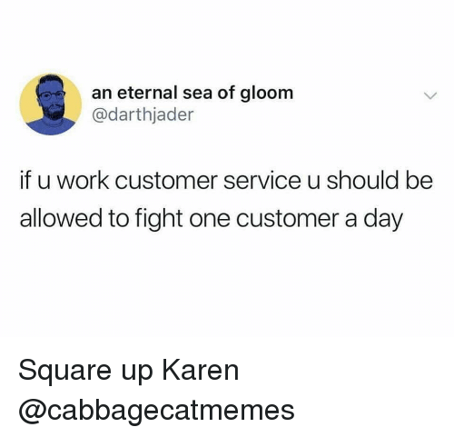 Square Up: an eternal sea of gloom  @darthjader  if u work customer service u should be  allowed to fight one customer a day Square up Karen @cabbagecatmemes
