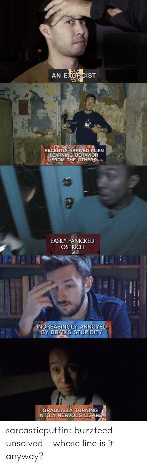 exorcist: AN EXORCIST   RECENTLY ARRIVED ALIEN  LEARNING BEHAVIOR  FROM THE OTHERS mily   EASILY PANICKED  OSTRICH   INCREASINGLY ANNOYED  BY BRAD'S STUPIDITY   GRADUALLY TURNING  INTO A NERVOUS LIZAR sarcasticpuffin: buzzfeed unsolved + whose line is it anyway?