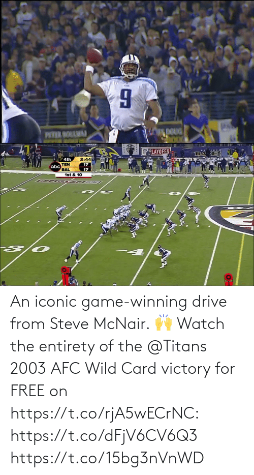 card: An iconic game-winning drive from Steve McNair. 🙌  Watch the entirety of the @Titans 2003 AFC Wild Card victory for FREE on https://t.co/rjA5wECrNC: https://t.co/dFjV6CV6Q3 https://t.co/15bg3nVnWD