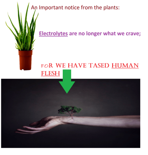 electrolytes: An Important notice from the plants:  Electrolytes are no longer what we crave;  FOR WE HAVE TASED HUMAN  FLESH