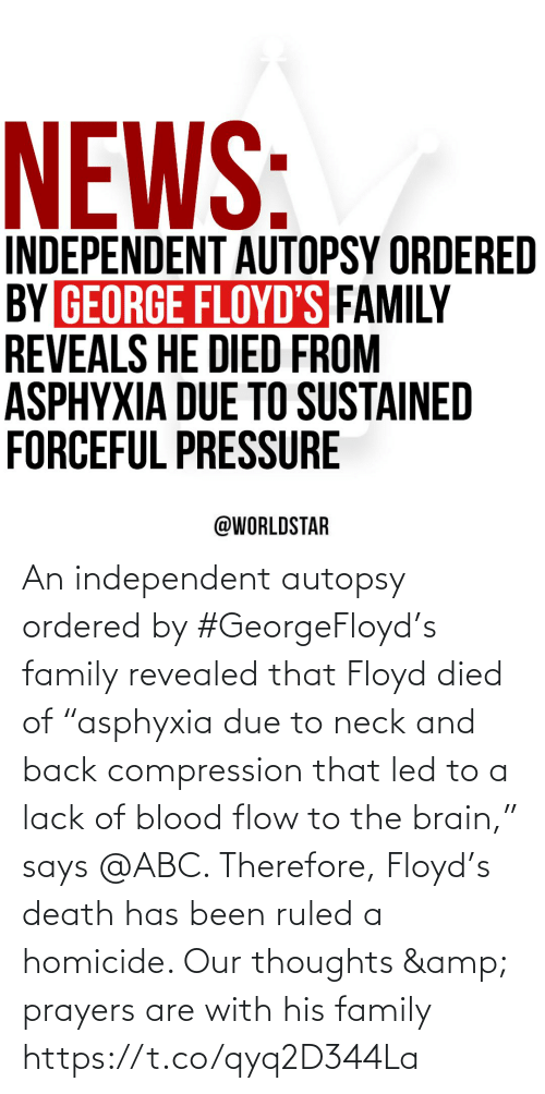 "Abc, Family, and Brain: An independent autopsy ordered by #GeorgeFloyd's family revealed that Floyd died of ""asphyxia due to neck and back compression that led to a lack of blood flow to the brain,"" says @ABC. Therefore, Floyd's death has been ruled a homicide. Our thoughts & prayers are with his family https://t.co/qyq2D344La"