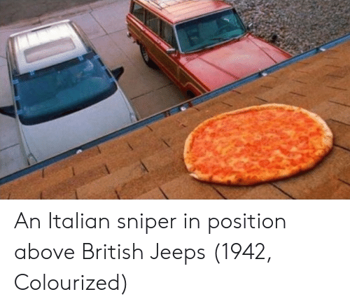 Italian Sniper: An Italian sniper in position above British Jeeps (1942, Colourized)