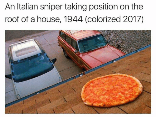 Italian Sniper: An Italian sniper taking position on the  roof of a house, 1944 (colorized 2017)