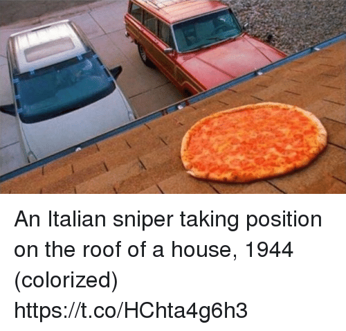 Italian Sniper: An Italian sniper taking position on the roof of a house, 1944 (colorized) https://t.co/HChta4g6h3