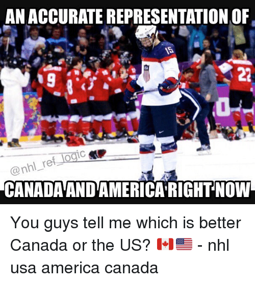 memes: ANACCURATEREPRESENTATION OF  @nhl re  CANADAANDAMERICA RIGHT NOW You guys tell me which is better Canada or the US? 🇨🇦🇺🇸 - nhl usa america canada