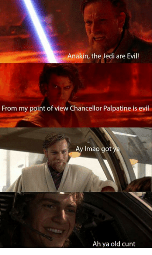 Jedi, Memes, and Cunt: Anakin, the Jedi are Evil!  From my point of view Chancellor Palpatine is evil  Ay Imao  got  Ah ya old cunt