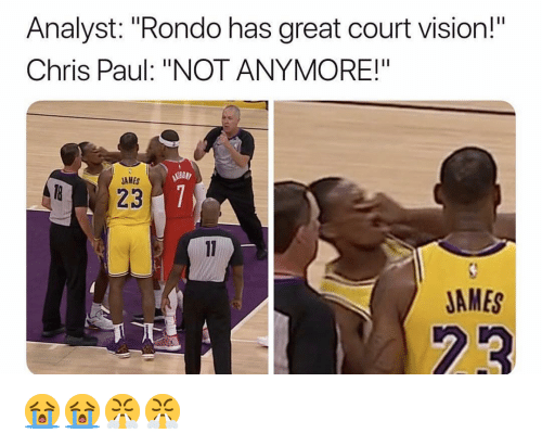 "rondo: Analyst: ""Rondo has great court vision!  Chris Paul: ""NOT ANYMORE!""  AMES  JAMES 😭😭😤😤"