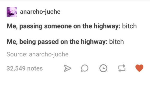 Anarcho: anarcho-juche  Me, passing someone on the highway: bitch  Me, being passed on the highway: bitch  Source: anarcho-juche  32,549 notes D