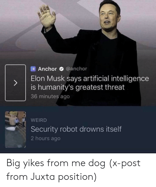 Drowns: Anchor @anchor  Elon Musk says artificial intelligence  is humanity's greatest threat  36 minutes ago  WEIRD  Security robot drowns itself  2 hours ago Big yikes from me dog (x-post from Juxta position)