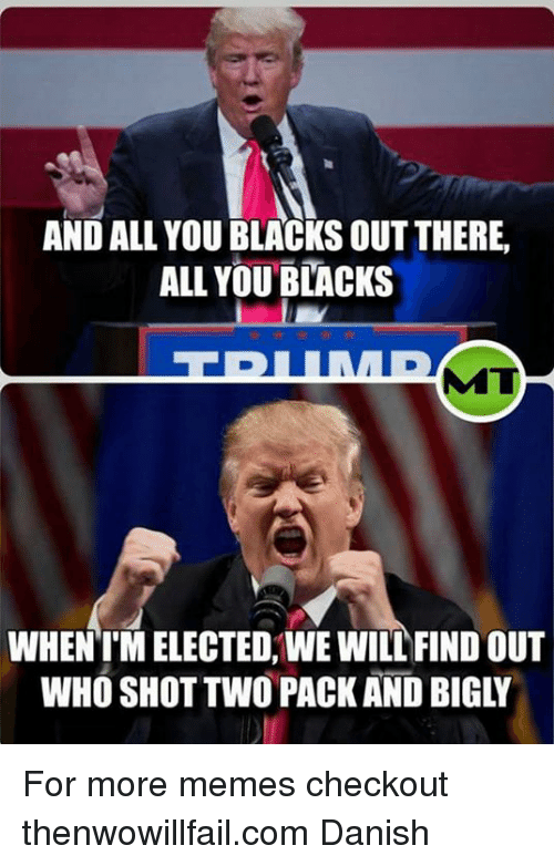 memes: AND ALL YOU BLACKS OUT THERE,  ALL YOU BLACKS  ITI  WHEN IMELECTED, WE WILL FIND OUT For more memes checkout thenwowillfail.com Danish