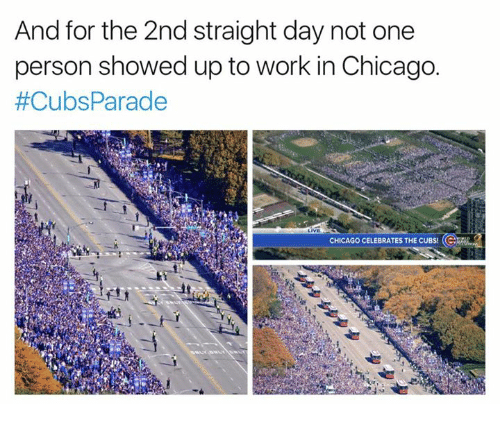 Chicago Cubs: And for the 2nd straight day not one  person showed up to work in Chicago.  #Cubs Parade  CHICAGO CELEBRATES THE CUBS!