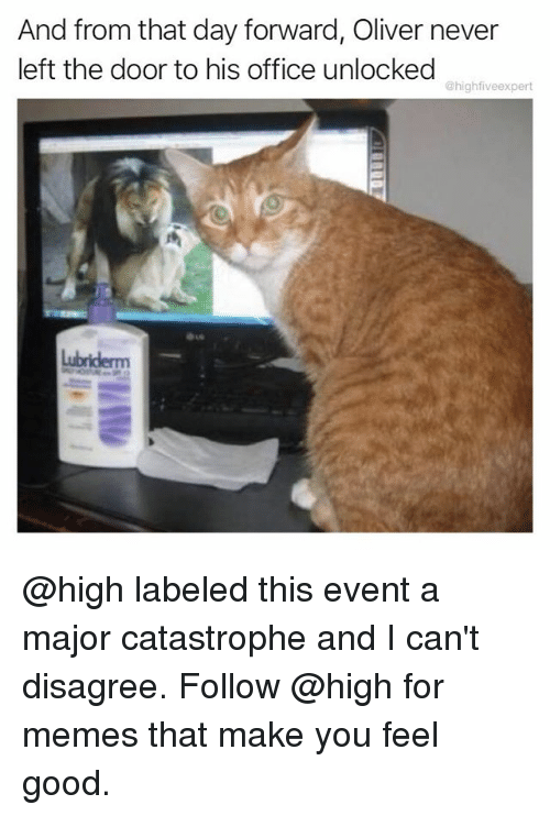 Memes, Good, and Office: And from that day forward, Oliver never  left the door to his office unlocked  @highfiveexpert  TI @high labeled this event a major catastrophe and I can't disagree. Follow @high for memes that make you feel good.