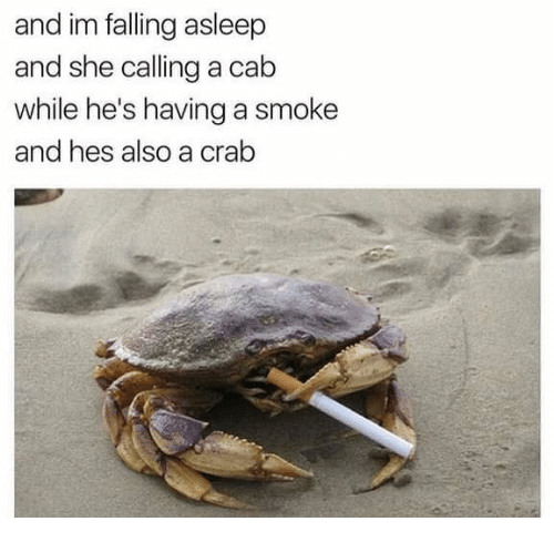 crabbing: and im falling asleep  and she calling a cab  while he's having a smoke  and hes also a crab